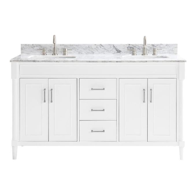 Allen Roth Perrella 61 In White Undermount Double Sink Bathroom Vanity With Carrera White Natural Marble Top In The Bathroom Vanities With Tops Department At Lowes Com