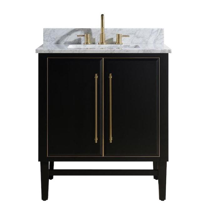 Avanity Mason 24 In Black Undermount Single Sink Bathroom Vanity With Carrara White Marble Top In The Bathroom Vanities With Tops Department At Lowes Com