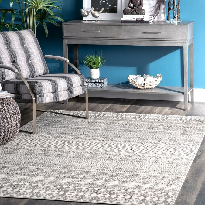 Nuloom 8 X 10 Gray Indoor Stripe Mid Century Modern Area Rug In The Rugs Department At Lowes Com