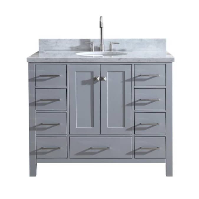 Ariel Cambridge 43 In Gray Undermount Single Sink Bathroom Vanity With White Natural Marble Top In The Bathroom Vanities With Tops Department At Lowes Com