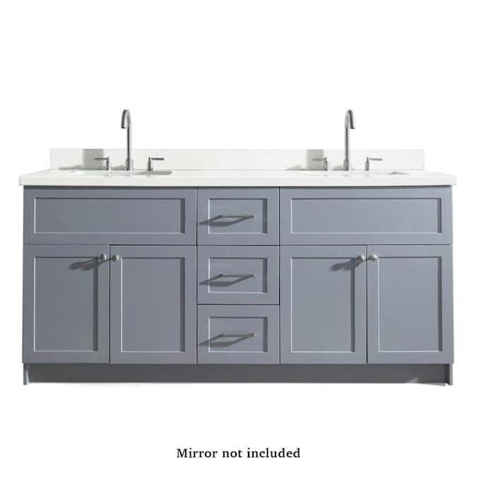 Ariel Hamlet 73 In Gray Undermount Double Sink Bathroom Vanity With White Quartz Top In The Bathroom Vanities With Tops Department At Lowes Com