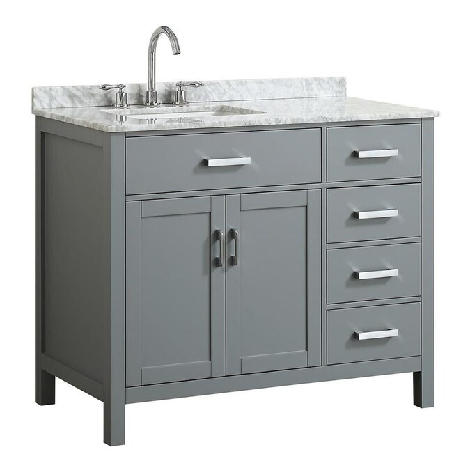 Beaumont Decor Hampton 43 In Gray Undermount Single Sink Bathroom Vanity With White Natural Marble Top In The Bathroom Vanities With Tops Department At Lowes Com