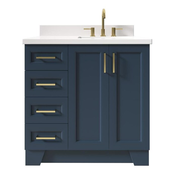 Ariel Taylor 37 In Midnight Blue Undermount Single Sink Bathroom Vanity With White Quartz Top In The Bathroom Vanities With Tops Department At Lowes Com