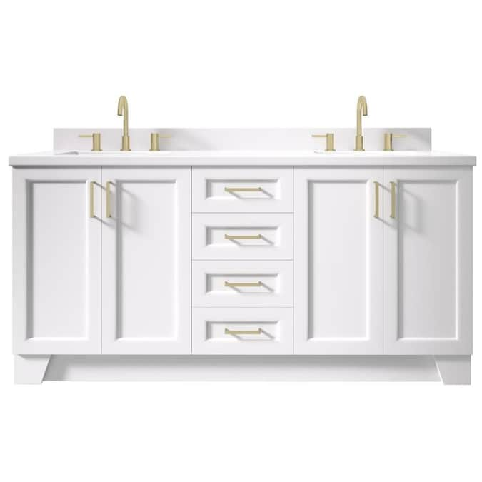 Ariel Taylor 73 In White Undermount Double Sink Bathroom Vanity With White Quartz Top In The Bathroom Vanities With Tops Department At Lowes Com