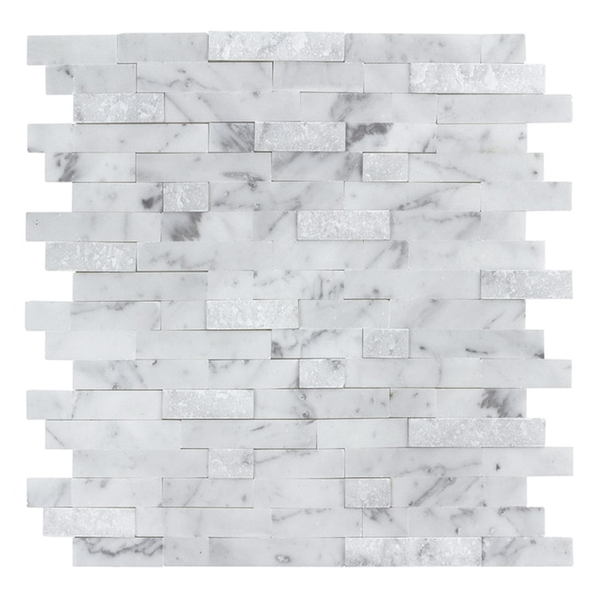Peel Stick Mosaics Peel And Stick Stacked Carrara 12 In X 12 In Multi Finish Natural Stone Linear Marble Look Peel Stick Wall Tile In The Tile Department At Lowes Com