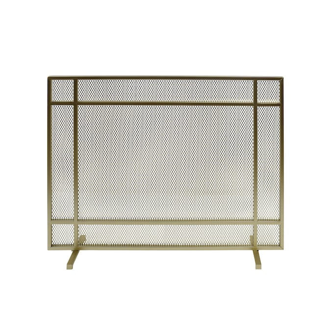 Best Selling Home Decor Cabarrus Modern Single Panel Iron Firescreen Gold Finish In The Fireplace Screens Department At Lowes Com