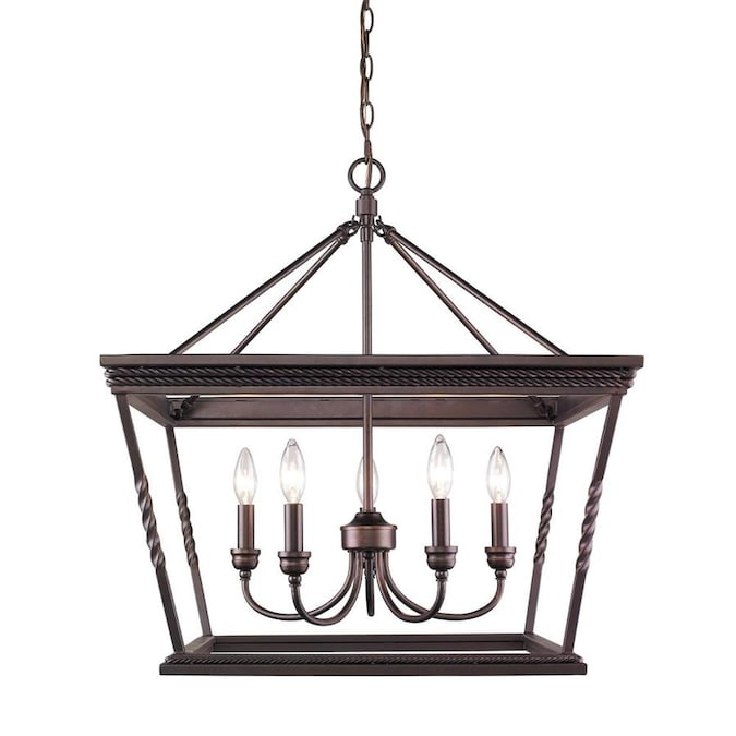 Golden Lighting Davenport 5 Light Etruscan Bronze Traditional Cage Chandelier In The Chandeliers Department At Lowes Com
