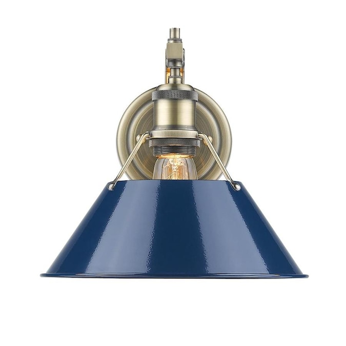 Golden Lighting Orwell 10 In W 1 Light Pewter With Navy Blue Shade Industrial Wall Sconce In The Wall Sconces Department At Lowes Com