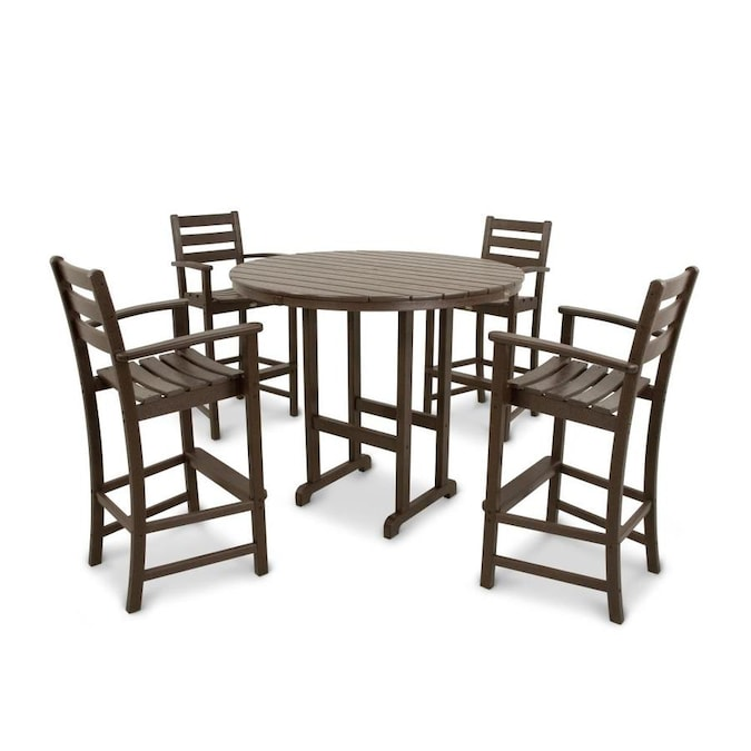 Trex Outdoor Furniture Monterey Bay 5 Piece Tan Frame Bar Height Patio Set With Bar Height In The Patio Dining Sets Department At Lowes Com