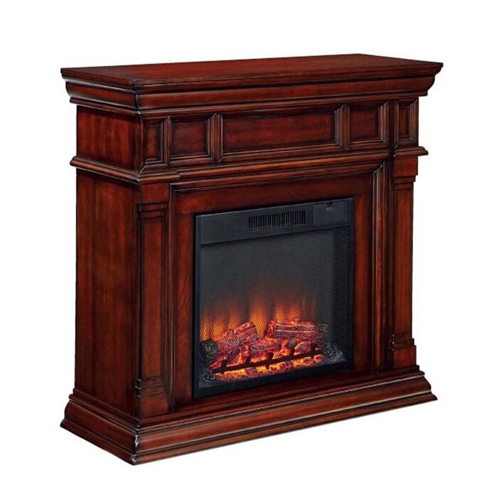 W Cherry Fan Forced Electric Fireplace, Dark Cherry Wood Electric Fireplace