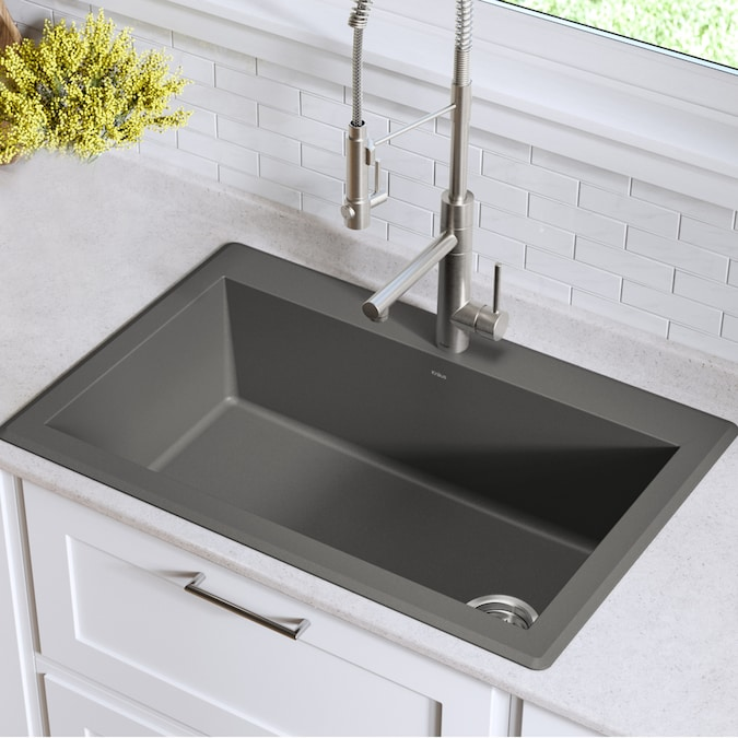 Kraus Forteza Dual Mount 33 In X 22 In Grey Single Bowl 1 Hole Kitchen Sink In The Kitchen Sinks Department At Lowes Com