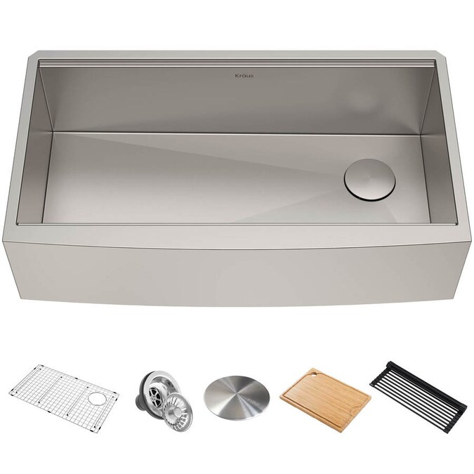Casainc Farmhouse Apron Front 22 In X 30 In Stainless Steel Single Bowl 1 Hole Workstation Kitchen Sink In The Kitchen Sinks Department At Lowes Com