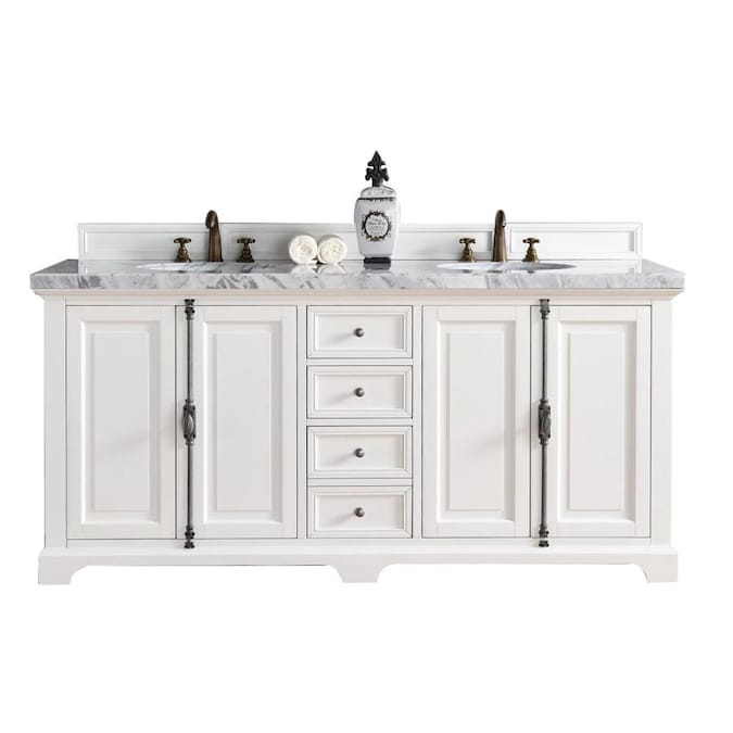 James Martin Vanities Providence 72 In Cottage White Undermount Double Sink Bathroom Vanity With Carrara Marble Top In The Bathroom Vanities With Tops Department At Lowes Com