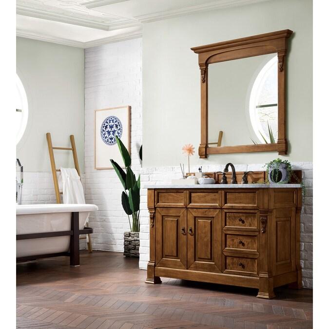 James Martin Vanities Brookfield 48 In Country Oak Undermount Single Sink Bathroom Vanity With Carrara White Marble Top In The Bathroom Vanities With Tops Department At Lowes Com