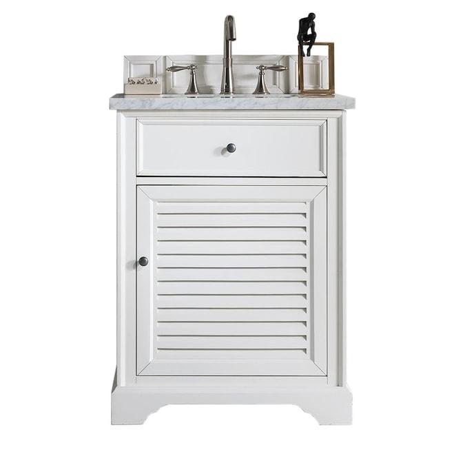 James Martin Vanities Savannah 26 In Cottage White Undermount Single Sink Bathroom Vanity With Carrara White Marble Top In The Bathroom Vanities With Tops Department At Lowes Com