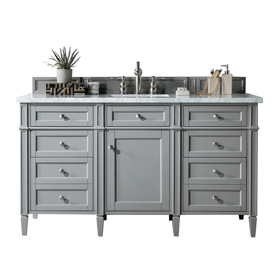 James Martin Vanities Brittany 60-in Urban Gray Undermount Single Sink  Bathroom Vanity With Carrara White Marble Top In The Bathroom Vanities With  Tops Department At Lowes.com