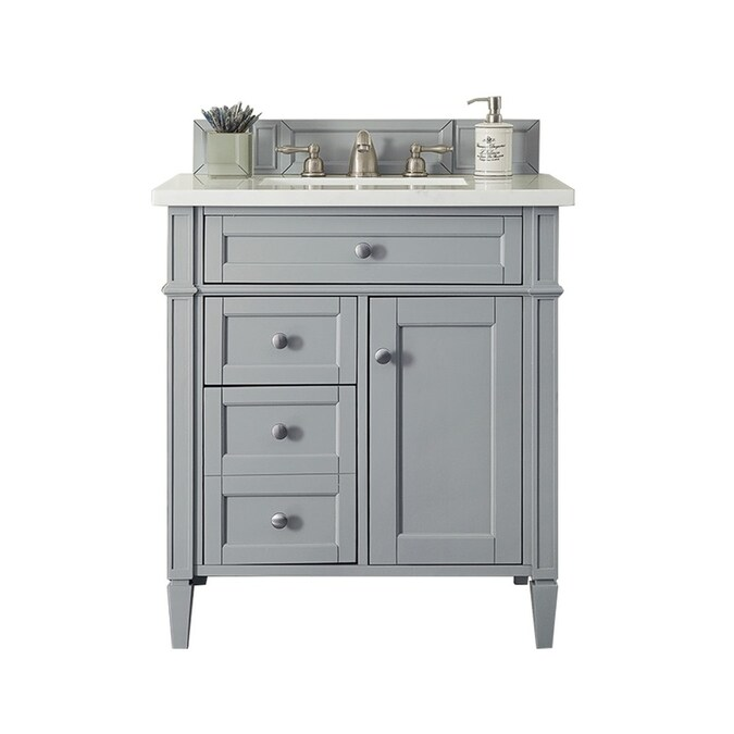 James Martin Vanities Brittany 30 In Urban Gray Single Sink Bathroom Vanity With Arctic Falls Solid Surface Top In The Bathroom Vanities With Tops Department At Lowes Com