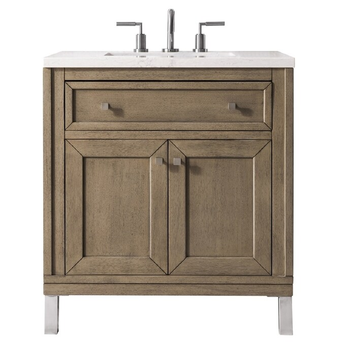 James Martin Vanities Chicago 30 In Whitewashed Walnut Undermount Single Sink Bathroom Vanity With Eternal Jasmine Pearl Quartz Top In The Bathroom Vanities With Tops Department At Lowes Com