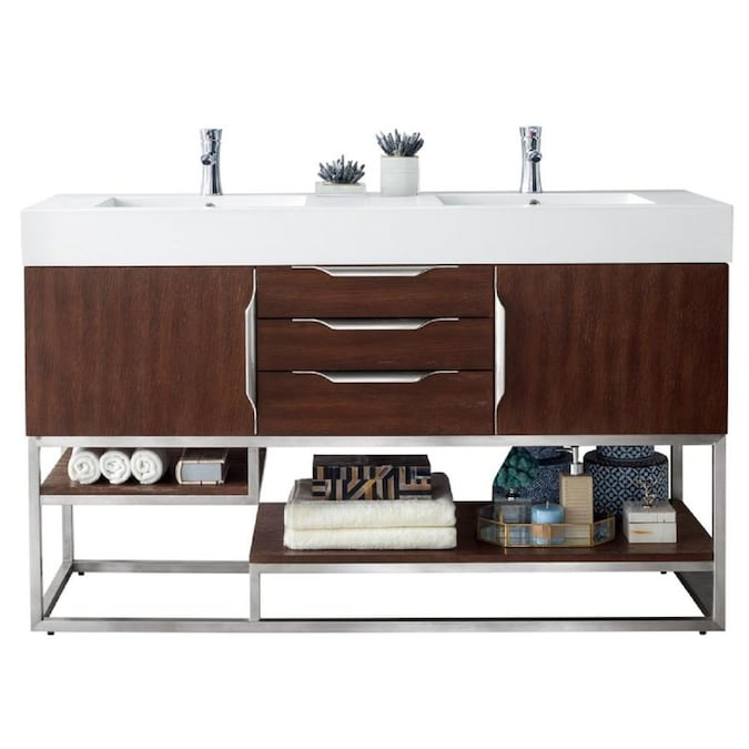 James Martin Vanities Columbia 59 In Coffee Oak Double Sink Bathroom Vanity With Matte White Solid Surface Top In The Bathroom Vanities With Tops Department At Lowes Com
