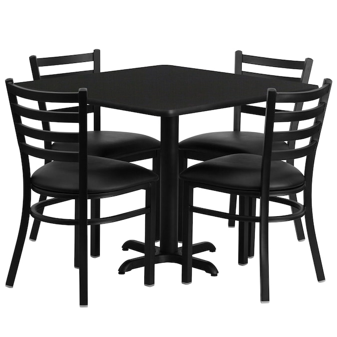 Flash Furniture Black Top Black Vinyl Seat Dining Set With Table In The Dining Room Sets Department At Lowes Com