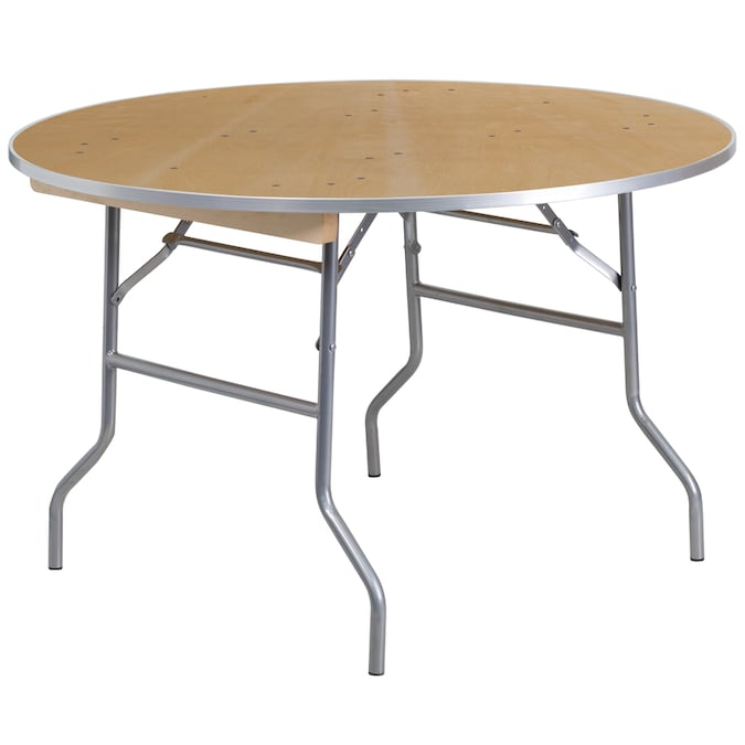 Flash Furniture 4 Ft X 4 Ft Indoor Round Wood Brown Folding Banquet Table In The Folding Tables Department At Lowes Com
