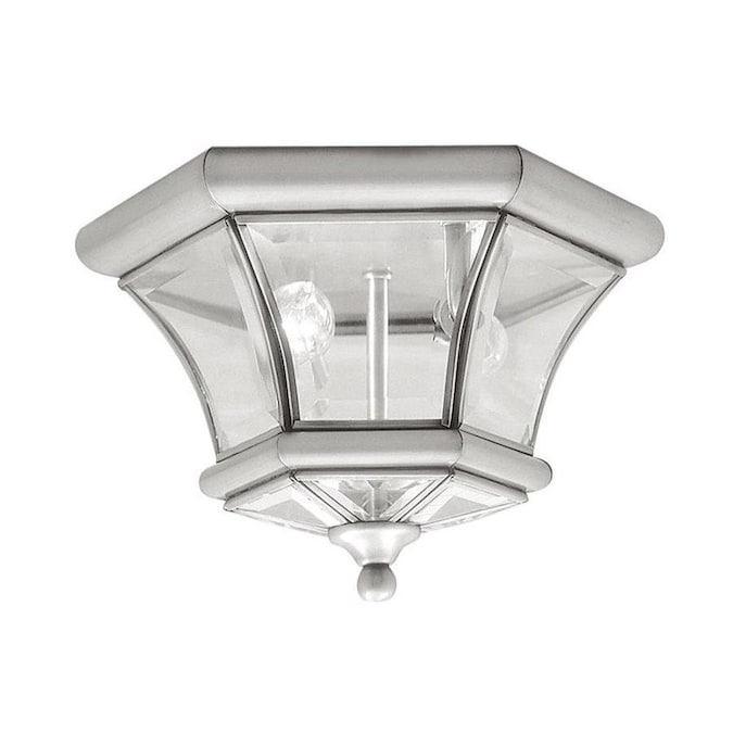 Livex Lighting Monterey 10 5 In W Brushed Nickel Outdoor Flush Mount Light In The Outdoor Flush Mount Lights Department At Lowes Com