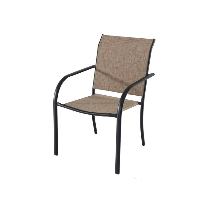 Garden Treasures Pelham Bay Stackable Black Metal Frame Stationary Dining Chair S With Tan Sling Seat In The Patio Chairs Department At Lowes Com