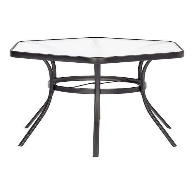 Pelham Bay Hexagon Outdoor Dining Table, Outdoor Patio Table And Chairs With Umbrella Hole