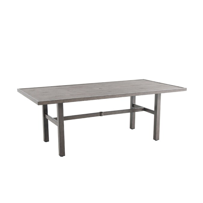 Allen Roth Riverchase Rectangle Outdoor Dining Table 40 In W X 77 95 In L With Umbrella Hole In The Patio Tables Department At Lowes Com