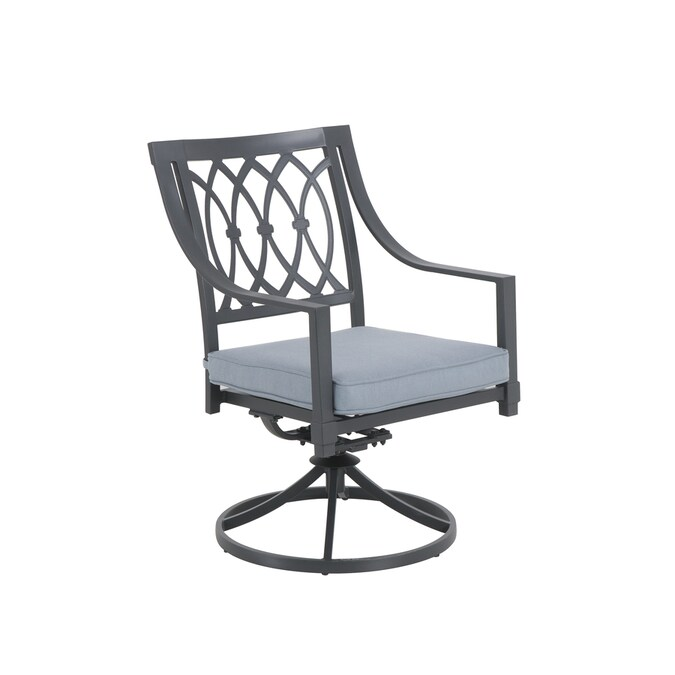 Allen Roth Aspen Grove Set Of 4 Grey Metal Frame Swivel Dining Chair S With Grey Cushioned Seat In The Patio Chairs Department At Lowes Com