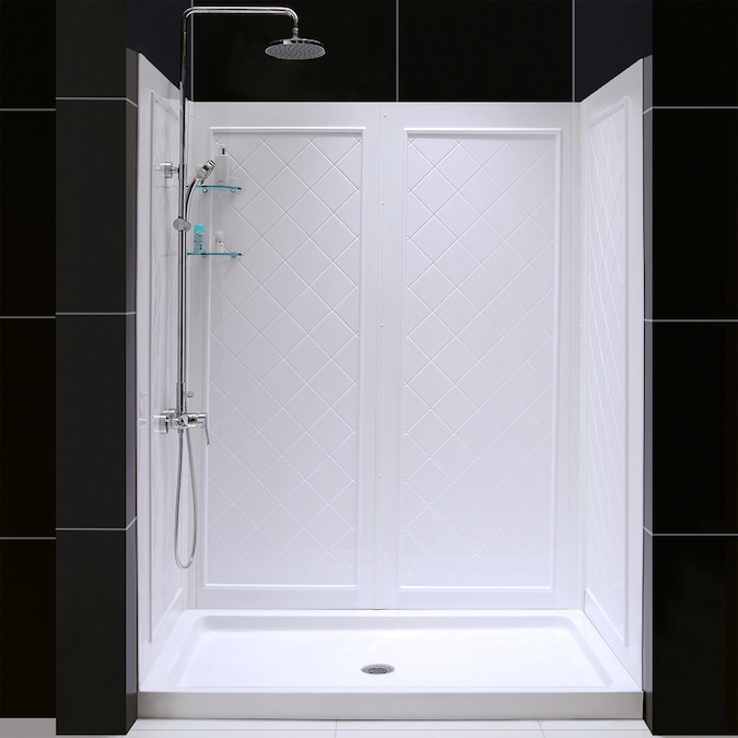 Dreamline Qwall 3 White 2 Piece 60 In X 32 In X 76 In Alcove Shower Kit In The Alcove Shower Kits Department At Lowes Com