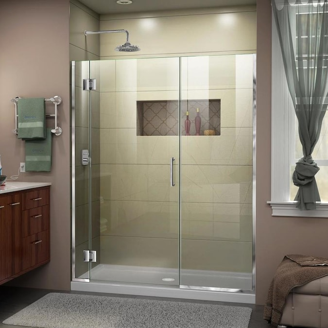 Dreamline Unidoor X 72 In H X 65 5 In To 66 In W Frameless Hinged Chrome Shower Door Clear Glass In The Shower Doors Department At Lowes Com