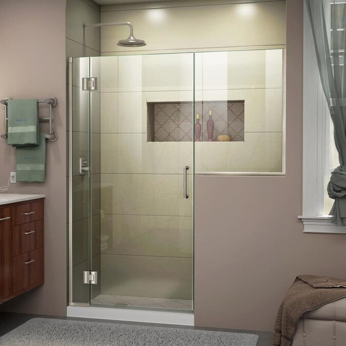 Dreamline Unidoor X 72 In H X 57 In To 57 5 In W Frameless Hinged Brushed Nickel Shower Door Clear Glass In The Shower Doors Department At Lowes Com