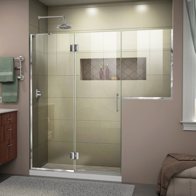 Dreamline Unidoor X 72 In H X 72 In To 72 5 In W Frameless Hinged Chrome Shower Door Clear Glass In The Shower Doors Department At Lowes Com