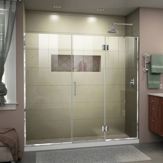 Dreamline Unidoor X 72 In H X 66 In To 66 5 In W Frameless Hinged Chrome Shower Door Clear Glass In The Shower Doors Department At Lowes Com
