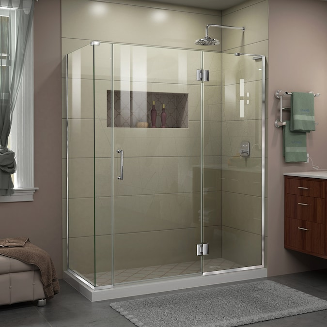 Dreamline Unidoor X 72 In H X 60 In W Frameless Hinged Brushed Nickel Shower Door Clear Glass In The Shower Doors Department At Lowes Com