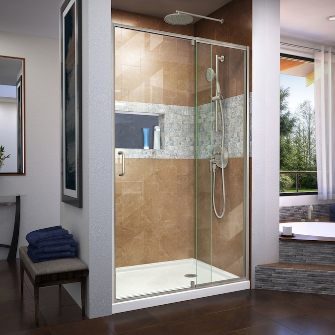 Dreamline Flex 72 In H X 44 In To 48 In W Semi Frameless Pivot Brushed Nickel Shower Door Clear Glass In The Shower Doors Department At Lowes Com