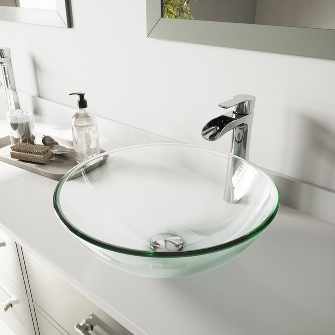 Vigo Vessel Sink Iridescent Glass Vessel Round Bathroom Sink With Faucet Drain Included 16 5 In X 16 5 In In The Bathroom Sinks Department At Lowes Com