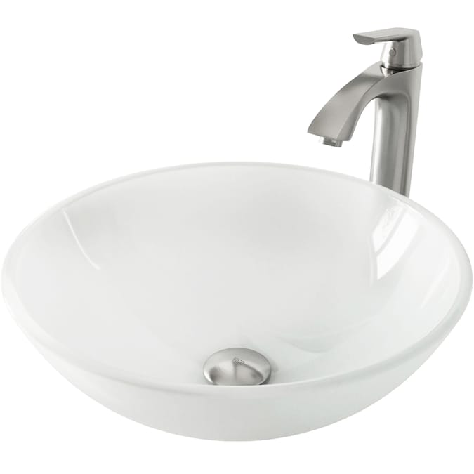 Vigo Vessel Sink White Frost Glass Vessel Round Bathroom Sink With Faucet Drain Included 16 5 In X 16 5 In In The Bathroom Sinks Department At Lowes Com