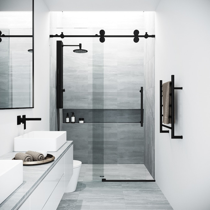 Vigo Elan 74 In H X 44 In To 48 In W Frameless Sliding Matte Black Shower Door Clear Glass In The Shower Doors Department At Lowes Com