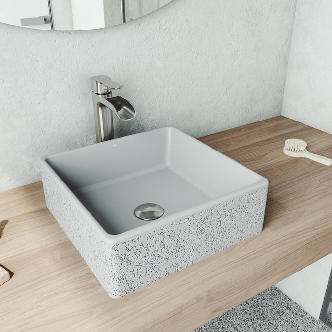 Vigo Aster Ash Concrete Vessel Square Bathroom Sink With Faucet Drain Included 14 5 In X 14 5 In In The Bathroom Sinks Department At Lowes Com