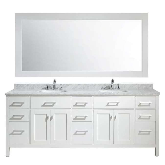 Design Element London 84 In White Undermount Double Sink Bathroom Vanity With White Marble Top Mirror Included In The Bathroom Vanities With Tops Department At Lowes Com