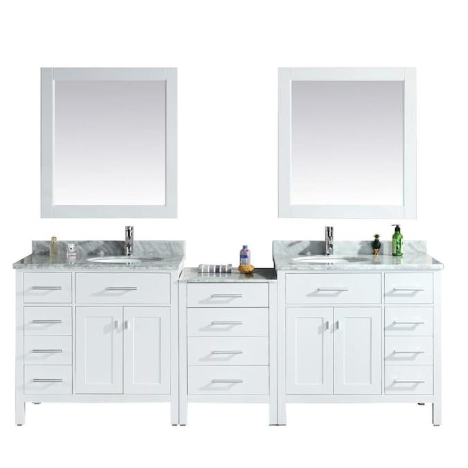 Design Element London 92 In White Undermount Double Sink Bathroom Vanity With White Marble Top Mirror Included In The Bathroom Vanities With Tops Department At Lowes Com