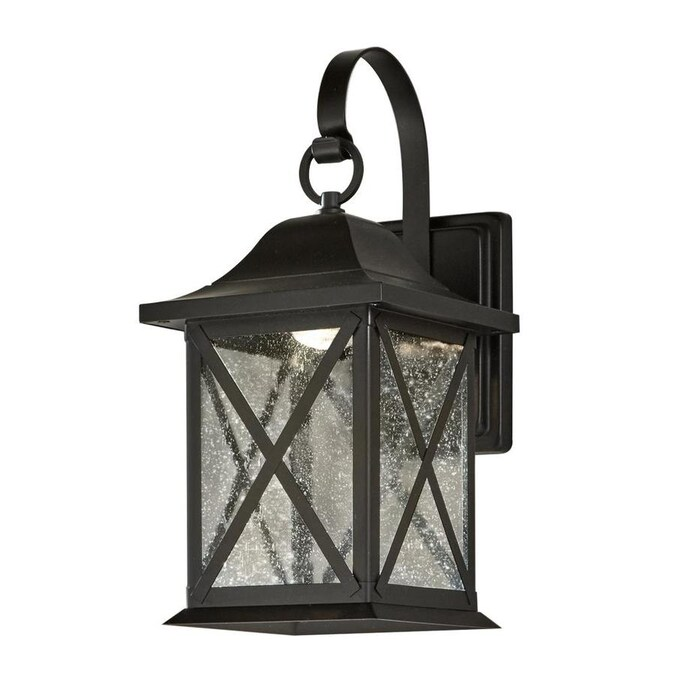 Allen Roth 8 9 In H Black Dark Sky Led Outdoor Wall Light In The Outdoor Wall Lights Department At Lowes Com