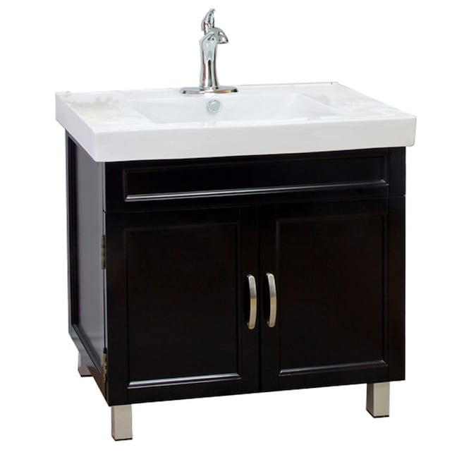 Bellaterra Home 31 In Black Single Sink Bathroom Vanity With White Vitreous China Top In The Bathroom Vanities With Tops Department At Lowes Com