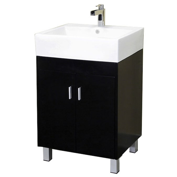 Bellaterra Home 22 In Dark Espresso Single Sink Bathroom Vanity With White Vitreous China Top In The Bathroom Vanities With Tops Department At Lowes Com