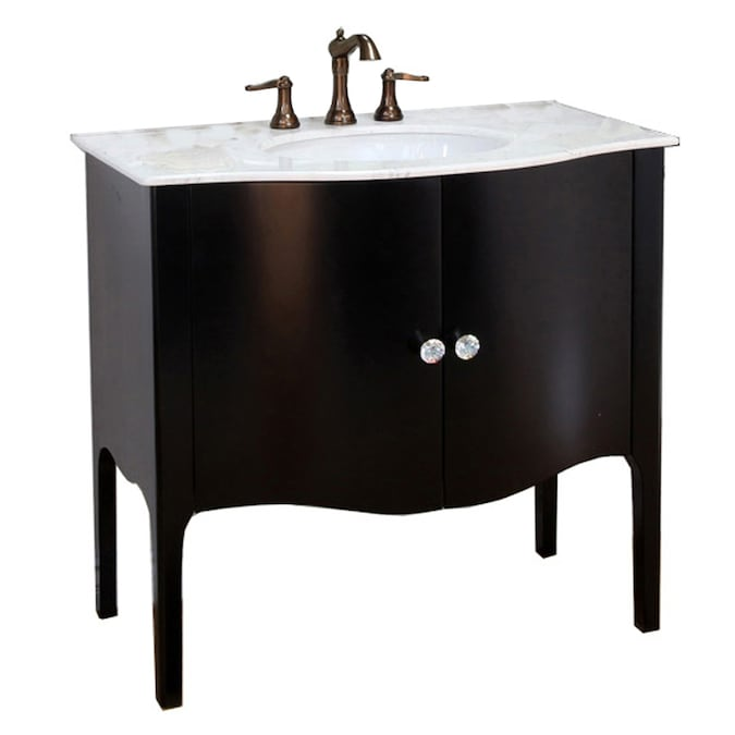 Bellaterra Home 36 In Black Undermount Single Sink Bathroom Vanity With White Natural Marble Top In The Bathroom Vanities With Tops Department At Lowes Com