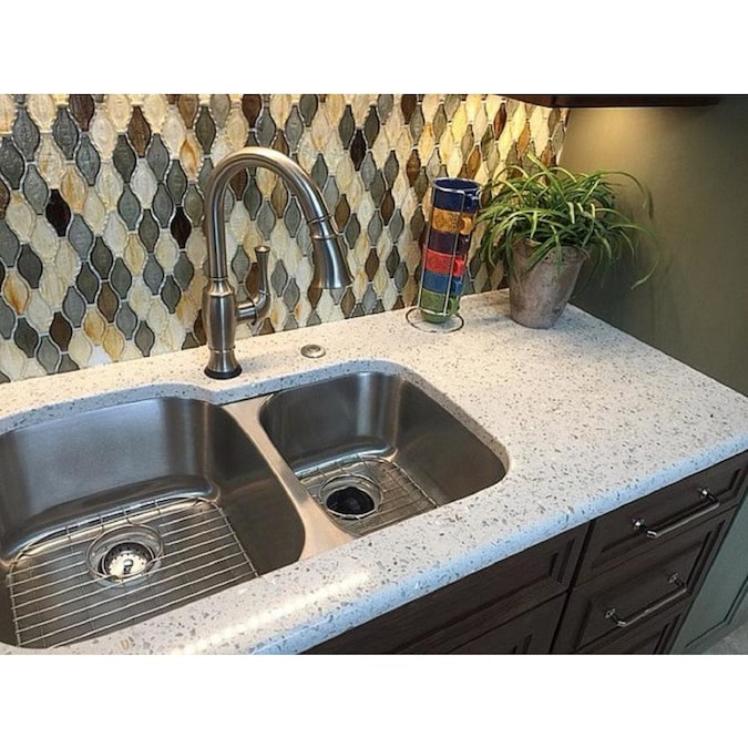 Curava Savaii Recycled Glass Gold Kitchen Countertop Sample In The Kitchen Countertop Samples Department At Lowes Com