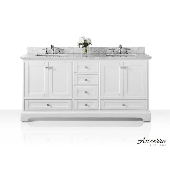 Ancerre Designs Audrey 60 In White Undermount Double Sink Bathroom Vanity With Carrara White Natural Marble Top In The Bathroom Vanities With Tops Department At Lowes Com