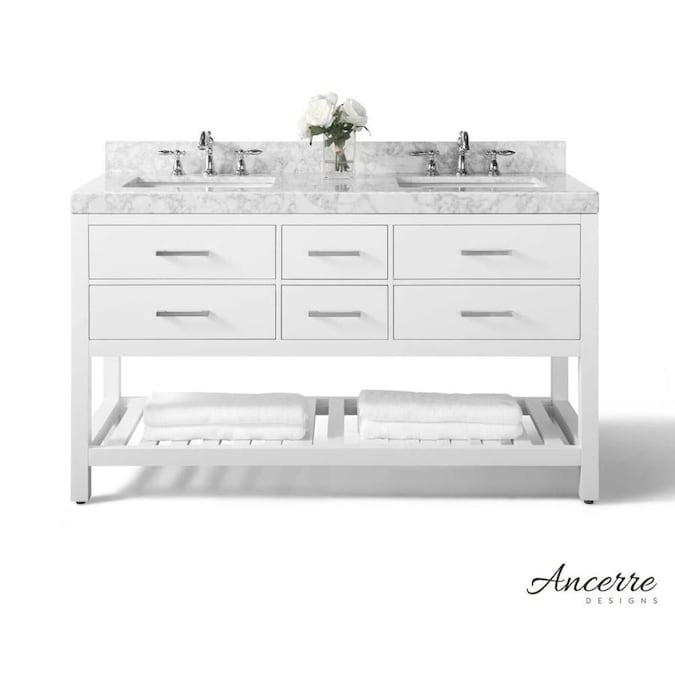 Ancerre Designs Elizabeth 60 In White Undermount Double Sink Bathroom Vanity With White Natural Marble Top In The Bathroom Vanities With Tops Department At Lowes Com